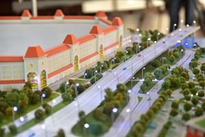 Макет будущего автомобильного моста в Нагатинской пойме