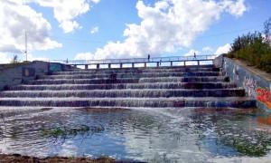 Затопленная лестница у реки Городни