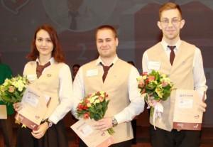 Победители (слева направо): Анна Кондратьева (3 место), Антон Абрамов (1 место), Андрей Шахов (2 место)