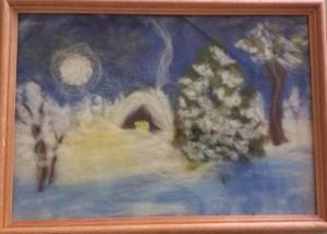 """Картина, выполненная в технике """"шерстяная акварель"""" в библиотеке №150"""