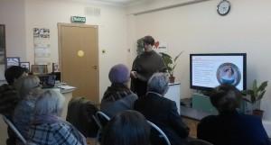 Жители района на презентации о Н.М. Карамзине в библиотеке №150