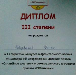 Диплом участника конкурса Дениса Щербакова