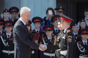 Мэр Москвы Сергей Собянин на параде кадет на Поклонной Горе